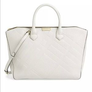 Burberry Dewsbury Check Embossed Leather Tote